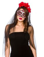 Day of The Dead Eye Mask & Veil (MK9923)